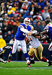 30 November 2008: Buffalo Bills' starting quarterback Trent Edwards throws for a 9-yard gain and a first down in the second quarter against the San Francisco 49ers at Ralph Wilson Stadium in Orchard Park, NY. The 49ers defeated the Bills 10-3. ***** Editorial Use Only ******..Mandatory Photo Credit: Ed Wolfstein Photo