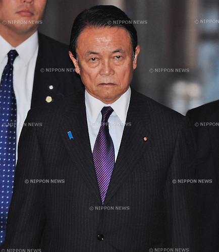 February 5, 2014, Tokyo, Japan - Japan's Deputy Prime Minister and Minister of Finance Taro Aso attends an upper house budget committee session at the parliament in Tokyo, Japan on February 5, 2014. (Photo by AFLO)