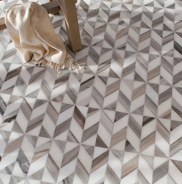 Lancaster Medium, a hand-cut stone mosaic, shown in honed Horizon Dark and honed Paperwhite, is part of The Studio Line of Ready to Ship mosaics.