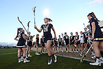23 February 2017: Notre Dame's Sydney Flynn (26) is introduced before the game. The Elon University Phoenix hosted the University of Notre Dame Fighting Irish at Rudd Field in Elon, North Carolina in a 2017 Division I College Women's Lacrosse match. Notre Dame won the game 16-7.