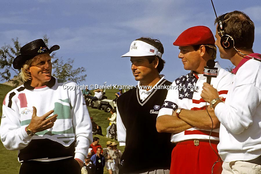 Payne Stewart defeated Fred Couples and Gregg Norman to win the 1992 Skins Game at Bighorn Golf Club in Palm Desert, Calif.