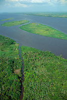 Aerial view of lower Amazon floodplain showing islands covered with grassland at low water level during dry season, Brazil, Para.
