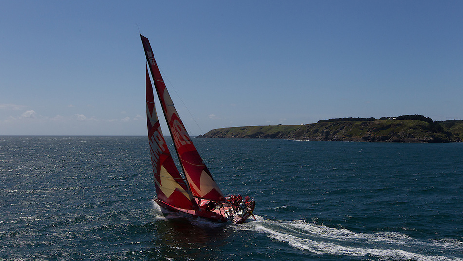 FRANCE, Belle Ile. 1st July 2012. Volvo Ocean Race, Leg 9 Lorient-Galway. Camper with Emirates Team New Zealand.