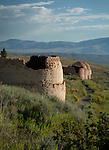 Idaho, Eastern, Lemhi County, Leadore. Remains of the charcoal kilns used to power the nearby silver mines in the Birch Creek Valley on a summer morning.
