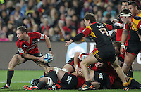 Crusaders' Andy Ellis clears the ball whilst playing against the Chiefs in a Super Rugby match, Waikato Stadium, Hamilton, New Zealand, Friday, July 06, 2012.  Credit:SNPA / David Rowland