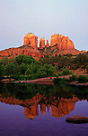 Cathedral Rocks from Oak Creek Canyon Red Rock Crossing sunset light on rocks with reflection in creek, Red Rock State Park, Sedona, Arizona State USA