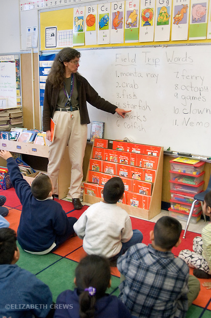 Oakland CA 2nd grade teacher reviewing words for things encountered on school field trip