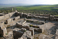 High angle view of the House Omnia Tibi Felicia, Dougga, Tunisia, pictured on January 31, 2008, in the afternoon. Dougga has been occupied since the 2nd Millennium BC, well before the Phoenicians arrived in Tunisia. It was ruled by Carthage from the 4th century BC, then by Numidians, who called it Thugga and finally taken over by the Romans in the 2nd century. Situated in the north of Tunisia, the site became a UNESCO World Heritage Site in 1997. Apparently, the House of the Omnia tibi Felicia was the town's brothel. Picture by Manuel Cohen.