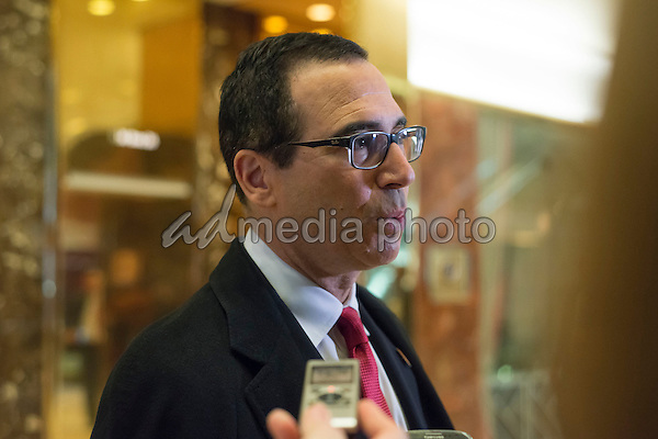 Steven Mnuchin, a contender for the position of Secretary of the U.S. Treasury under the Trump administration, arrives at Trump Tower, in New York, NY, USA on November 30, 2016. Photo Credit: Albin Lohr-Jones/CNP/AdMedia