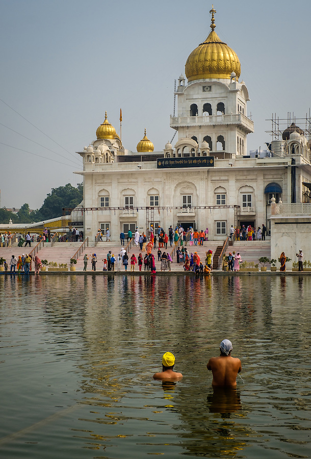 NEW DELHI, INDIA - CIRCA OCTOBER 2016: Gurudwara Bangla Sahi also known as Sikh house of worship in Delhi. This is oone of the most prominent Sikh gurdwara, often recognized by the pool inside its complex and the golden dome.