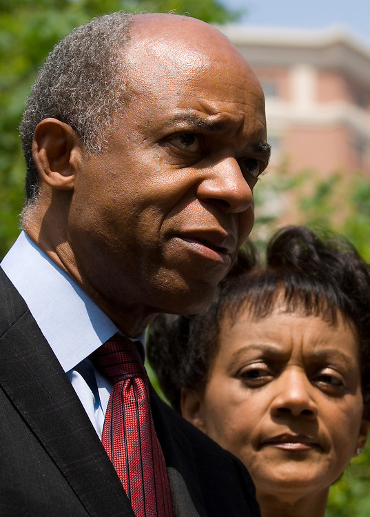 Indicted Rep. William Jefferson, D-La., speaks to the media outside of the U.S. District Court for the Eastern District of Virginia in Alexandria, Va., on Friday, June 8, 2007, following Jefferson's arraignment on federal corruption charges. Rep. Jefferson's wife Andrea Green Jefferson is to his right.