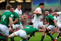 Johnny Williams of England U20 takes on the Ireland U20 defence. World Rugby U20 Championship Final between England U20 and Ireland U20 on June 25, 2016 at the AJ Bell Stadium in Manchester, England. Photo by: Patrick Khachfe / Onside Images
