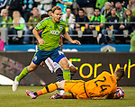 Seattle Sounders goalie Stefan Frei (24) covers up the the ball during their game against the New England Revolution during an MLS match on March 8, 2015 in Seattle, Washington.  The Sounders beat the Revolution 3-0.  Jim Bryant Photo. ©2015. All Rights Reserved.