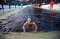 Moscow, Russia, 08/03/2010..Women of the Moscow Ice Swimming Club celebrate International Women's Day with a swim and party at a frozen lake in northern Moscow. The club always hold their end of season party on Women's Day.