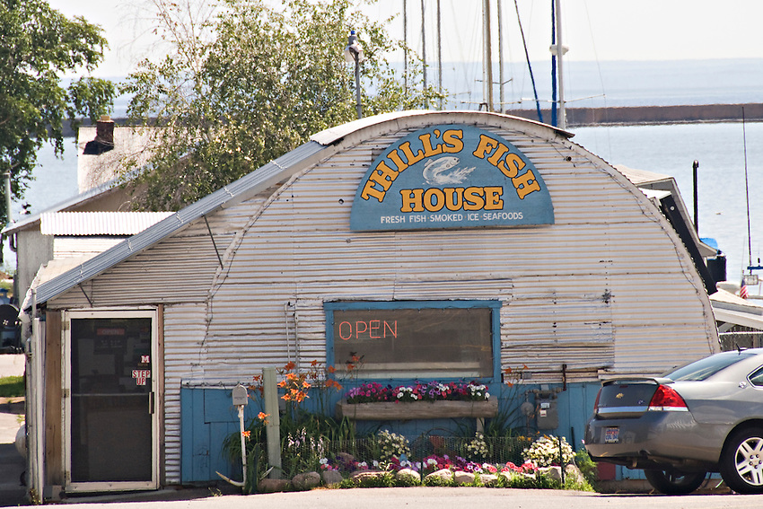 Thills Fish House on the lower harbor of Marquette Michigan.