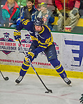 21 February 2015:  Merrimack College Warrior Forward Hampus Gustafsson, a Sophomore from Ljungby, Sweden, in first period action against the University of Vermont Catamounts at Gutterson Fieldhouse in Burlington, Vermont. The teams played to a scoreless tie as the Cats wrapped up their Hockey East regular home season. Mandatory Credit: Ed Wolfstein Photo *** RAW (NEF) Image File Available ***