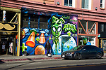 Street scene with mural and an in Venice Beach, CA