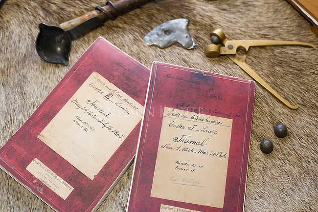 Lewis and Clark journal replicas on an elk hide
