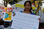 Artist, Rena Masuyama at an Anti nuclear protest by women outside the Ministry of Economy, Trade and Industry (METI) in Tokyo Japan. Friday November 4th 2011. The protest ran from October 27th to Noverber 5th. Originally started my mothers from Fukushima protesting about nuclear contamination from October 30th to November 5th the protest welcomed women and people from all over Japan.