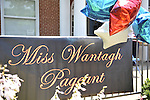 Banner and patriotic balloons at Miss Wantagh Pageant, a long-time Independence Day tradition on Long Island, held Wednesday, July 4, 2012, in front of Wantagh School, New York, USA. Since 1956, the Miss Wantagh Pageant, which is not a beauty pageant, has crowned a high school student based mainly on academic excellence and community service.