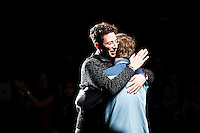 New york, United States. 7th February 2013 -- Alan Eckstein (L) hugs Timo Weiland at the end of their show during New York Fashion Week, MBFW 2013 in New York. Photo by Kena Betancur / VIEWpress.