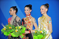 (L-R) Junior winners of team bronze from Italy are: Chiara Di Battista, Giulia Pala, Veronica Bertolini at 2010 Pesaro World Cup on August 27, 2010 at Pesaro, Italy.  Photo by Tom Theobald.
