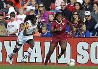 COLLEGE PARK, MD - OCTOBER 21, 2012:  Shade Pratt (22) of the University of Maryland chases after Jamia Fields (4) of Florida State during an ACC women's match at Ludwig Field in College Park, MD. on October 21. Florida won 1-0.