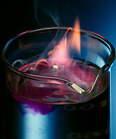 POTASSIUM REACTS EXPLOSIVELY WITH WATER<br /> Elemental Potassium Placed in Beaker of Water.<br /> An exothermic displacement reaction between elemental Potassium and water producing aqueous Potassium Hydroxide and Hydrogen gas. Phenolphthalein indicator in the water turns pink as the solution becomes basic with the formation of Potassium Hydroxide.