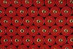 Rows of shotgun shells, 12 gauge, patterns of shells, red.