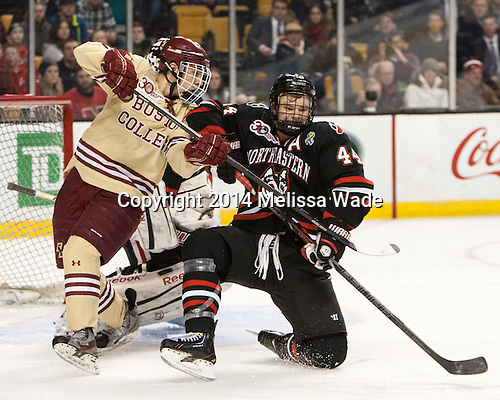 Johnny Gaudreau (BC - 13), Dax Lauwers (NU - 44) - The Boston College Eagles defeated the Northeastern University Huskies 4-1 (EN) on Monday, February 10, 2014, in the 2014 Beanpot Championship game at TD Garden in Boston, Massachusetts.