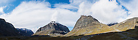 Panoramic view of Ladtjovagge viewed from near Kebnekaise Fj&auml;llstation, Lappland, Sweden