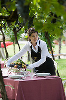 A waitress putting a fruit bowl on one of the many tables laid for an al fresco lunch in the vineyard