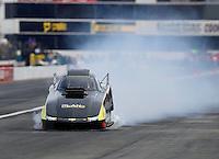 Nov 12, 2016; Pomona, CA, USA; NHRA top alcohol funny car driver Nick Januik during qualifying for the Auto Club Finals at Auto Club Raceway at Pomona. Mandatory Credit: Mark J. Rebilas-USA TODAY Sports