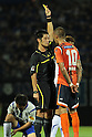 (L-R) Yudai Yamamoto (Referee), Rafael (Ardija),JULY 10, 2011 - Football :Referee Yudai Yamamoto shows a yellow card to Rafael of Omiya Ardija during the 2011 J.League Division 1 match between between Omiya Ardija 2-3 Gamba Osaka at NACK5 Stadium Omiya in Saitama, Japan. (Photo by Hiroyuki Sato/AFLO)