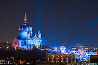 Cathedral of Saint Paul with Blue search lights during the Red Bull Crashed Ice event.