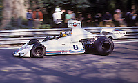 Brazilian Carlos Pace handles his Williams-Ford during the training sessions of the 1975 Spanish Grand Prix