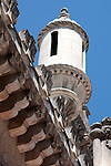 Detail of a tower on the Bussaco Hotel and Palace in Portugal.