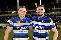 Tom Ellis and Elliott Stooke of Bath Rugby pose for a photo after the match. Aviva Premiership match, between Bath Rugby and Northampton Saints on February 10, 2017 at the Recreation Ground in Bath, England. Photo by: Patrick Khachfe / Onside Images