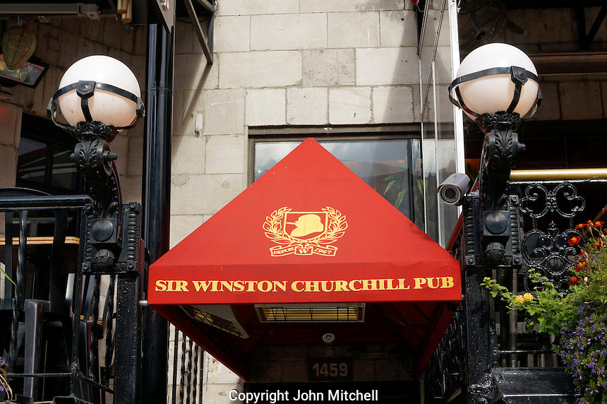 Sir Winston Churchill Pub on Crescent Street in downtown Montreal, Quebec, Canada
