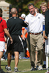 04 October 2009: Duke head coach Robbie Church (right) and Maryland head coach Brian Pensky (left) shake hands before the game. The University of Maryland Terrapins defeated the Duke University Blue Devils 4-0 at Koskinen Stadium in Durham, North Carolina in an NCAA Division I Women's college soccer game.