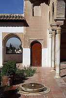 The Water Garden Courtyard (Detail), The Generalife, 13th century, redecorated by the king Abu I-Walid Isma'il (1313-1324), The Alhambra, Granada, Andalusia, Spain. Picture by Manuel Cohen