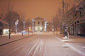 A snow covered city street in Joliette