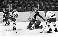 Seals vs North Stars, Bob McCord and Wayne Connelly, Seals Ron Boehm and Joe Szura..(1967 photo/Ron Riesterer)