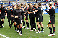 USWNT players during pre-game warm ups.