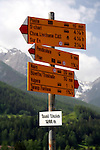 Destination board at the railroad station of Scuol in Switzerland, written in Rhaeto-Romanic language