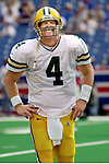 (2000)-Green Bay Brett Favre reacts to a hard hit by the Buffalo Bills defense after throwing for a two point conversion.