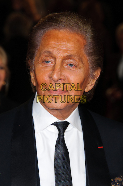 Valentino Garavani.Royal World Premiere of 'Skyfall' held at the Royal Albert Hall, London, England..October 23rd, 2012.headshot portrait black white suit tie shirt .CAP/CJ.©Chris Joseph/Capital Pictures.