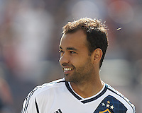 LA Galaxy midfielder Juninho (19). In a Major League Soccer (MLS) match, the New England Revolution (blue) defeated LA Galaxy (white), 5-0, at Gillette Stadium on June 2, 2013.