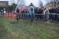 WIELRENNEN: SURHUISTERVEEN: 02-01-2016, Centrumcross, Martijn Budding (#4), Lars Boom, Marcel Meisen, ©foto Martin de Jong