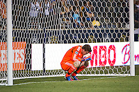 Philadelphia Union goalkeeper Zac MacMath (18) reacts to giving up a goal in second half stoppage time. Sporting Kansas City defeated the Philadelphia Union 2-0 during the semifinals of the 2012 Lamar Hunt US Open Cup at PPL Park in Chester, PA, on July 11, 2012.